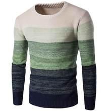 Fjun 브랜드 캐주얼 스웨터 가을 o 넥 스트라이프 풀오버 슬림 피트 남성 긴 소매 탑 남성 스웨터 얇은 옷 sueter hombre(China)