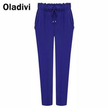 XXXXXL Plus Size Hot Sale New 2014 Autumn Casual Women Pants Solid Color Drawstring Elastic Waist Comfy Harem Pants Trousers 5XL