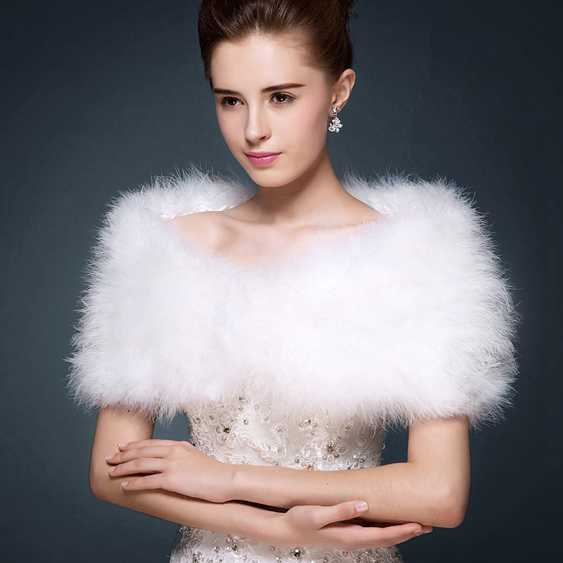 chaud hiver ivoire plume dautruche de marie bolros 2016 shrug mariage manteau vestes cape - Bolero Plume Mariage