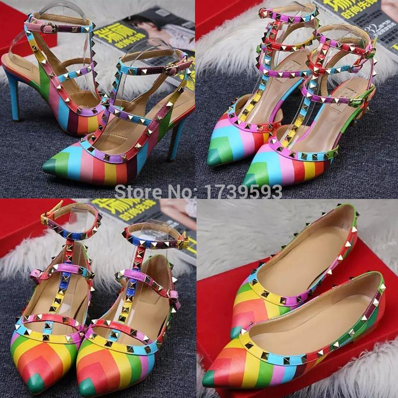 2015 fashion female high-heeled sandals rainbow shoes women's rivet t strap thin heels pointed toe ladies size 35-40  -  Lianshui First Trading Co., Ltd. store