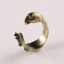 Retro Zinc Alloy Punk Style Parrot Rings Free Size Cute Bird Ring Fashion Animal Jewelry For Men And Women FA8049