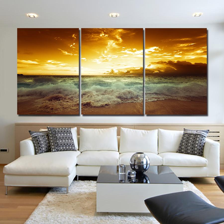 2016 new yellow sunset on red sky white spindrift large for Framed artwork for living room