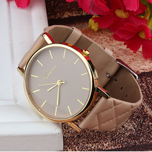 Creative 2016 new Fashion Style Unisex Casual Geneva Watch Checkers Faux Leather Quartz Analog Wrist Watch