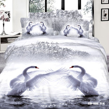 3D White swan bedding comforter set king queen size bedspread duvet cover bed in a bag fitted sheets linen linen linen cotton