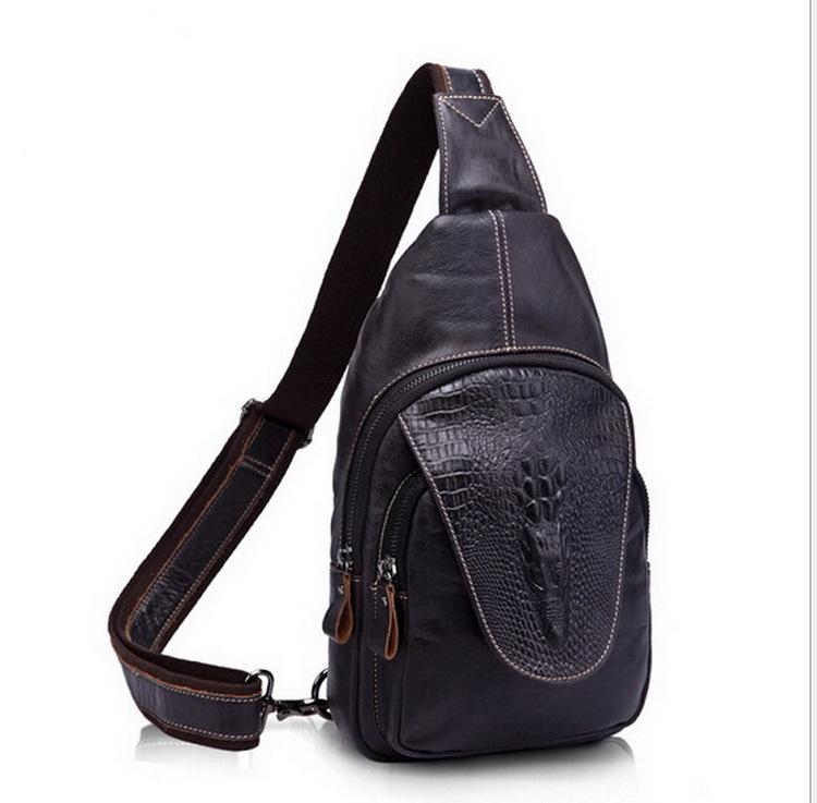 100% Genuine leather men bag Crossbody Bags Crocodile sports bags man shoulder Packs Hot Sold vintage Men Messenger Bag 2015 new<br>
