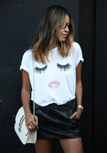 summer style 2015 hot women t shirt casual eyelash lips female models harajuku top cropped camisa