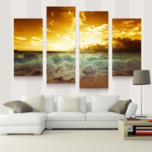 4 Panel Modern Sea Wave Painting Pictures Homd Decor Cuadros Wall Art Seascape Sunset Painting Canvas Prints Unframed PRL1016(China (Mainland))