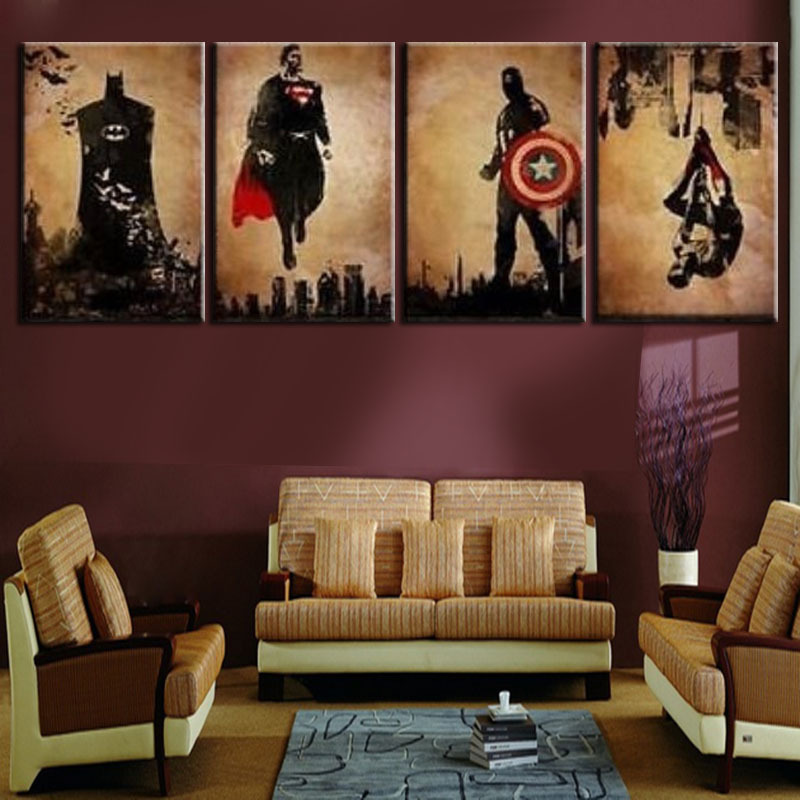 Unframed 4 panel superhero man handpainted modern abstract for Family room wall art