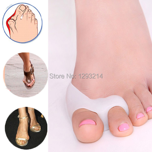 1Pair Silicone Gel foot fingers Two Hole Toe Separator Thumb Valgus Protector Bunion adjuster Hallux Guard feet care XU8b - jun chang store