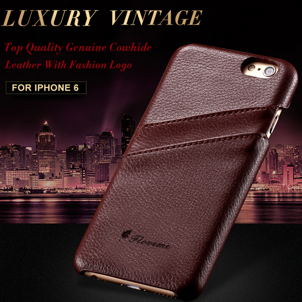 I6 / I6 Plus Luxury Genuine Litchi Leather Case For Apple iPhone 6 4.7''/5.5'' Unique Design Card Slot On Back Cover For iPhone6(China (Mainland))