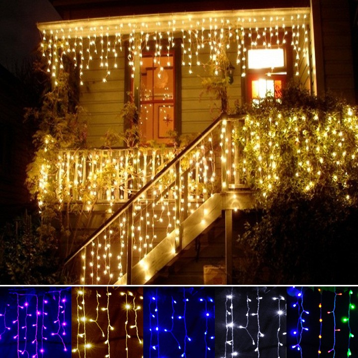 Decoration Lamp 3.5m Droop 0.3-0.5m curtain icicle string garland lights 220V christmas led Lights Garden Wedding Party 34(China (Mainland))