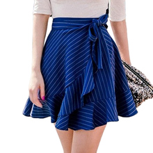 Buy Summer Vintage Ruffles Striped Skirt Women Sexy Short A-line Skirts Rope Tied Mini Skirt Matched 2017 New Irregular Skirts for $10.96 in AliExpress store