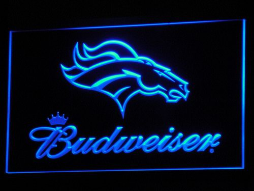 b294 Denver Broncos Budweiser Club LED Neon Light Signs Wholesale Dropshipping On/ Off Switch 7 colors DHL(China (Mainland))