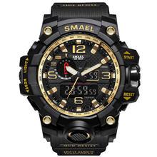 Hommes montre militaire 50m étanche montre-bracelet LED Quartz horloge Sport montre mâle relogios masculino 1545 Sport montre hommes S choc(China)