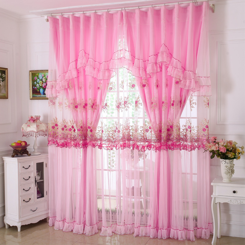 custom curtains Korean high-grade three-dimensional embroidery lace curtains the living room cloth voile sheer curtain tulles(China (Mainland))