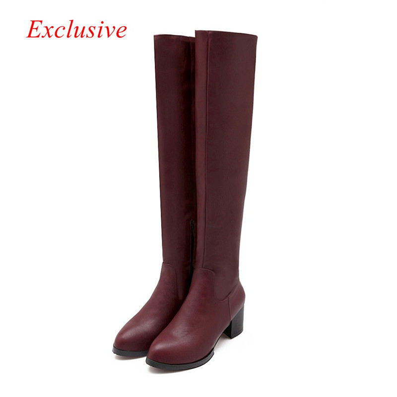 Party with knee boots 2015 latest Pointed long Black Red White Plus Size women winter shoes Short Plush Party With Knee Boots <br><br>Aliexpress