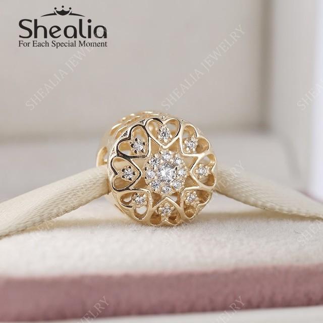 2016 настоящее 14 К чистого золота вырез в форме сердца радиант-линия кнопка - в форме подвески с ааа цирконий для женщин браслеты шарма DIY BD341