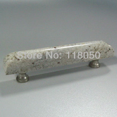 Unique French Furniture Hardware,96mm Kitchen Cabinet Handles Dresser Drawer Pulls,India Kashmir White Granite with Brass Base(China (Mainland))