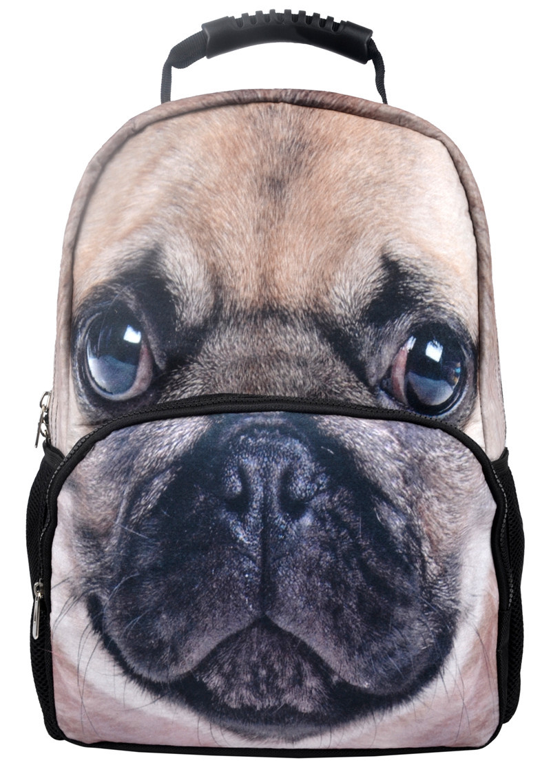 VN Pug Printing Backpacks 3D Felt Backpacks Animal Backpack Hot Sale Fashion Women Bags School Students Backpack Kids Gifts(China (Mainland))