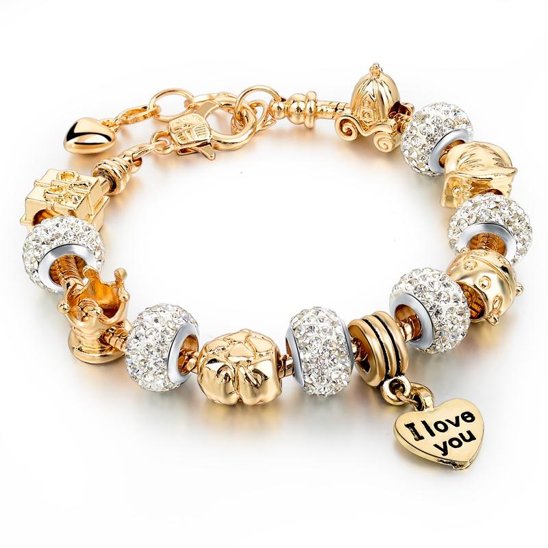 wholesale gold charm bracelets for diy glass