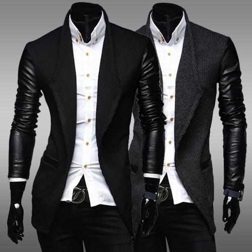 Fall 2016 men's Coat & Jackets for trench Korean version the new men's leather sleeves Slim woolen coat long coat black jacket