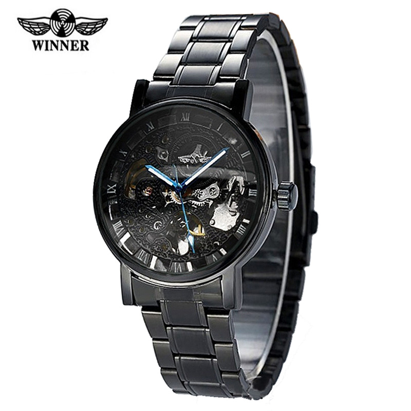 Montre Homme Winner Steampunk Clock Watch Men Black Automatic Mechanical Wrist Watches Tags - Evan Store store