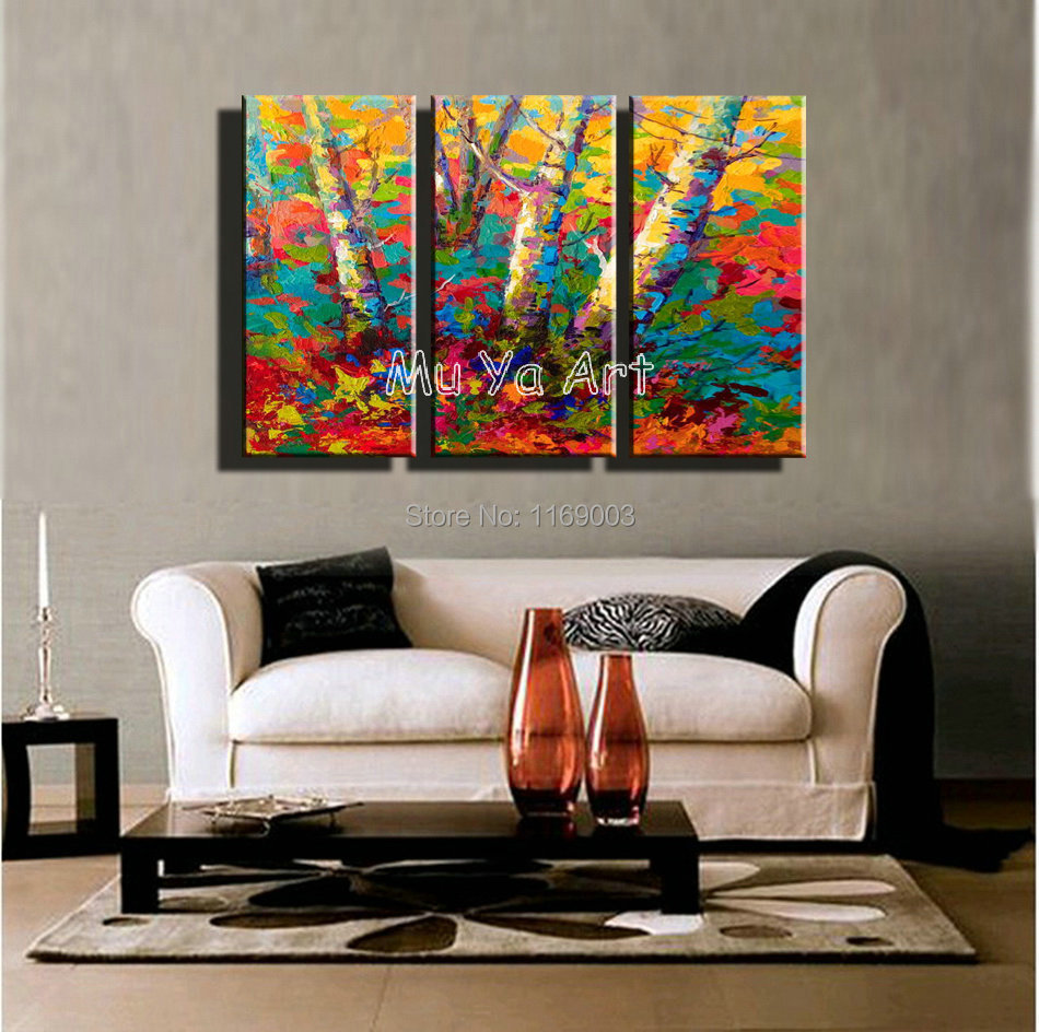 3 piece muti panel abstract modern canvas wall art - Contemporary wall art for living room ...