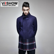 The new 2014 viishow Mens windbreaker men long plaid coat straight men's casual shoes