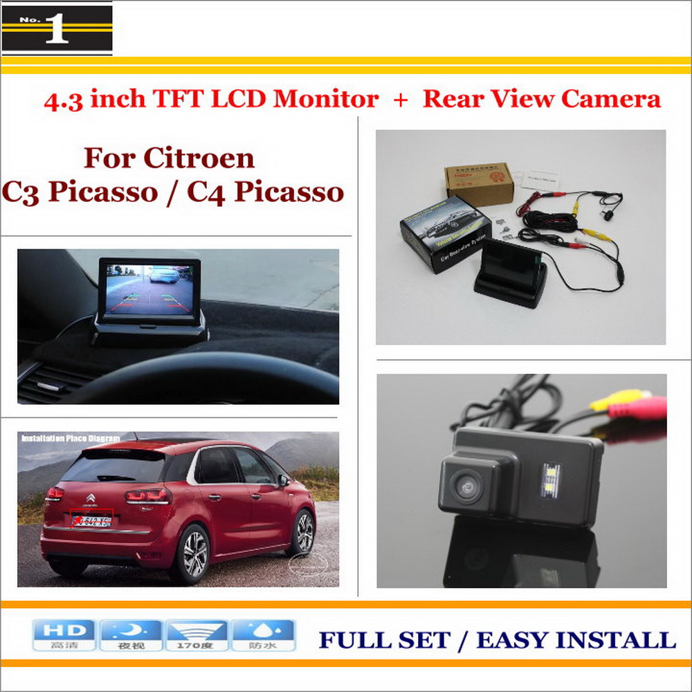 """Car Reverse Rear Camera + 4.3"""" TFT LCD Monitor = 2 in 1 Parking System - For Citroen C3 Picasso / C4 Picasso(China (Mainland))"""