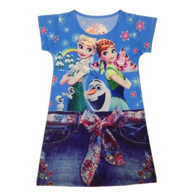 summer Elsa Anna pattem girls dresses Imitation jeans kids girls dress praty dress all for children's clothing and accessories(China (Mainland))