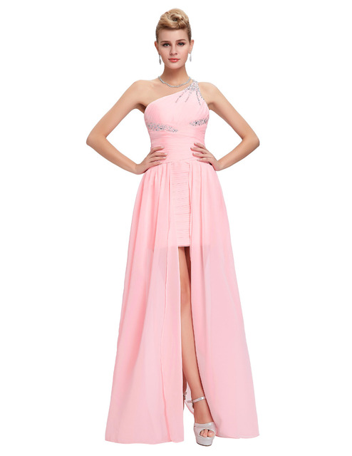 long back short front evening dresses abendkleider 2016 Pink long evening gowns one shoulder special occasion dress cheap