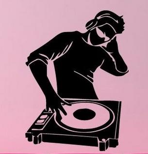 Música pared del vinilo del juego del muchacho del tatuaje música DJ Clubbing auriculares de la música arte Mural etiqueta de la pared dormitorio decoración del hogar(China (Mainland))