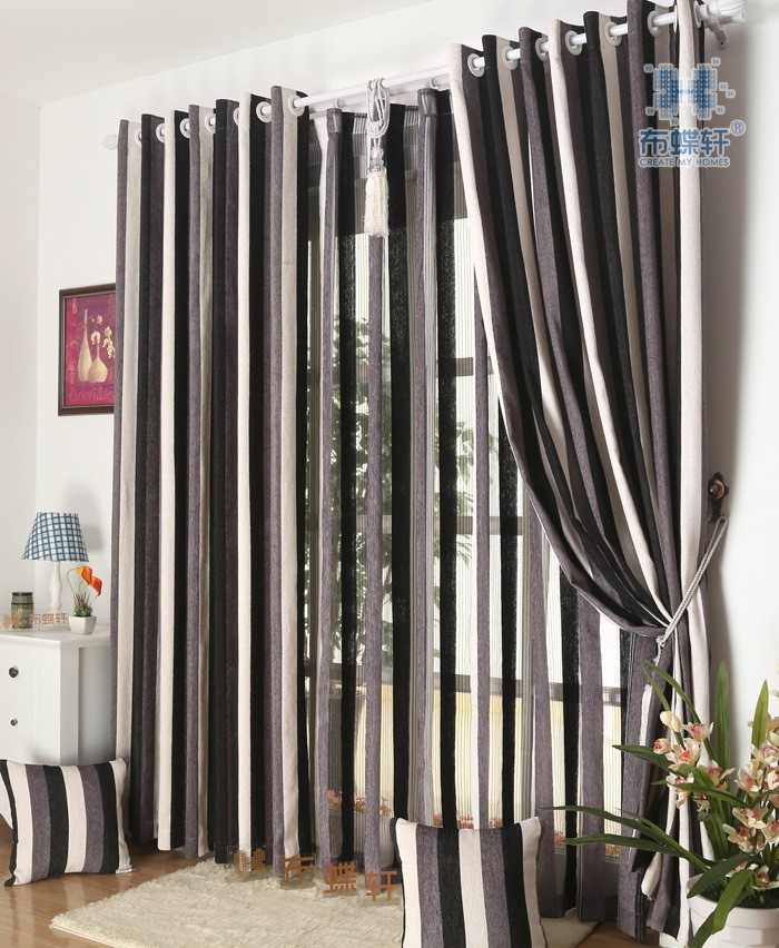 מודרני מינימליסטי בדרגה גבוהה עבה שניל בד פסים וילונות לחדר השינה וילונות סלון מרפסת