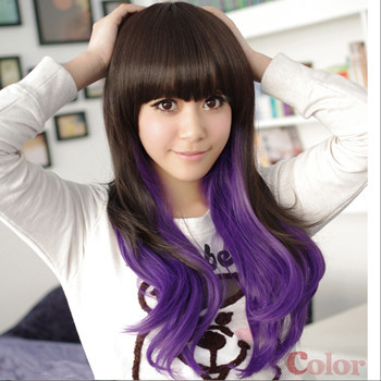Free Shipping Fashion Lady  Brown mix Purple Cosplay Party Wigs Womens Long  Synthetic Curly Hair Wig<br><br>Aliexpress