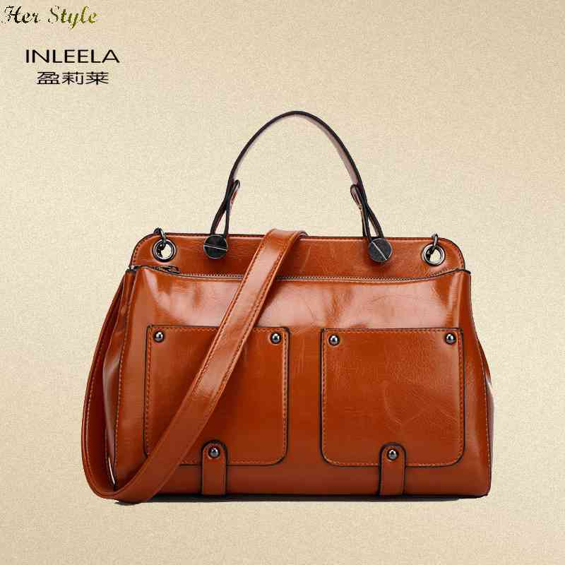 Free Shipping genuine leather womens bags new 2015 women female fashion oil wax mailman Messenger bag laptop shoulder ba(China (Mainland))