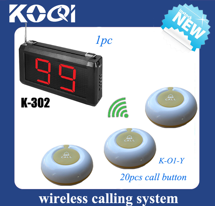Waiter calling system order service for restaurant equipment 1pc K-302 receiver with 20pcs K-O1-Y button waterproof(China (Mainland))
