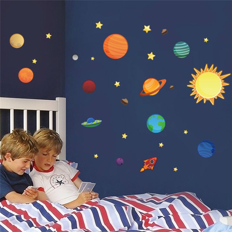 solar system planets moon wall decals kids gift bedroom decorative stickers diy cartoon mural art pvc nursery boys posters 1313.(China (Mainland))