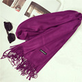 Shawls and Scarves Cashmere Cape Plain Winter Warm Scarf Luxury Brand Pashmina Soft Scarves Female Tassel