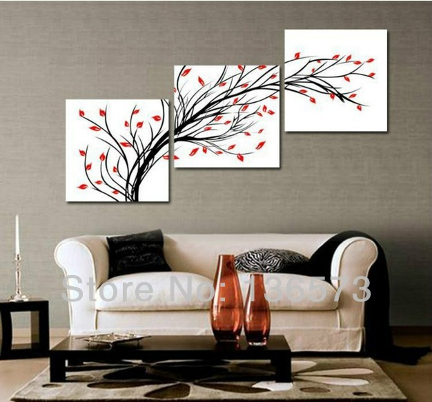 Handmade simple abstract painting 3 piece wall art set for Living room 12x16
