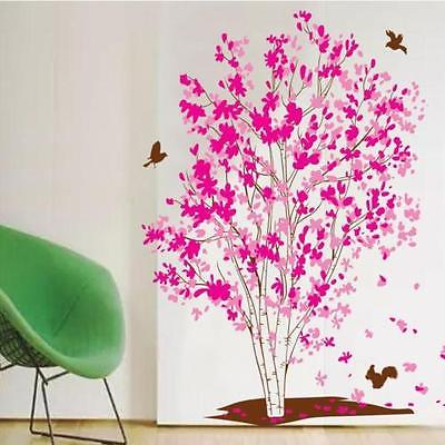Large Pink Flower Tree Birds Wall Sticker Vinyl Art Decal Girls Bedroom Decor(China (Mainland))