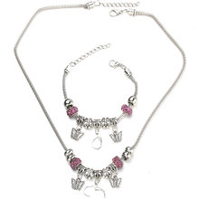 6 Colors Butterfly Necklace Bracelet Set Fine Silver Bead Hollow Chain Beaded Bracelet With Hook DIY Making Pendant Jewelry(China)