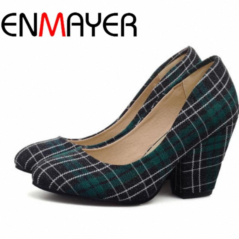 ENMAYER Retro Plaid Cloth wedges Platform pumps HOT! High heel shoes Casual women poumps new 2015 Party shoes Gray Red Purple