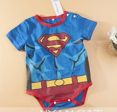 Одежда для младенцев джентльмен мальчики-младенцы с круглым вырезом короткая принт супермен один - один-шт ползунки комбинезон