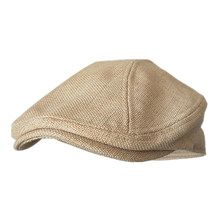 BUTTERMERE Mens Berets Grey Cotton Linen Flat Cap Male Solid Fitted Summer Retro Driving Hat Duckbill Brand Plain Gatsby Ivy Hat(China)