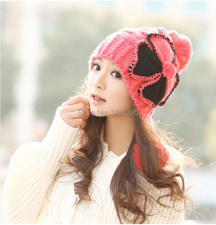 Four-leaf clover warm winter autumn hats women kinted fur thick girls lady skullies beanies caps female wool headwear - Lucky Dog's House store
