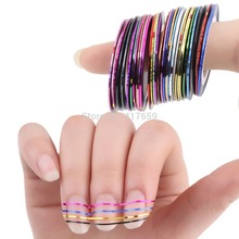 1set Mixed Colorful Beauty Rolls Striping Decals Foil Tips Tape Line DIY Design Nail Art Stickers for nail Tools Decorations