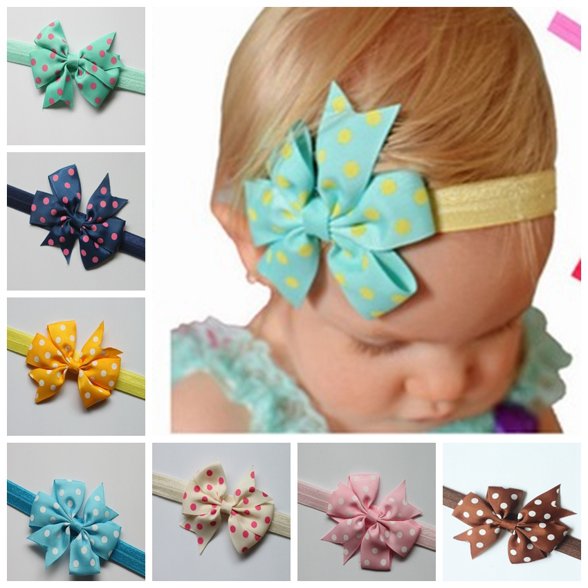 16 Colors Ribbon Dot Bow Headbands Baby Girl flower Headband Solid Color Children Hair Bow Elastic Infant Kids Hairband(China (Mainland))