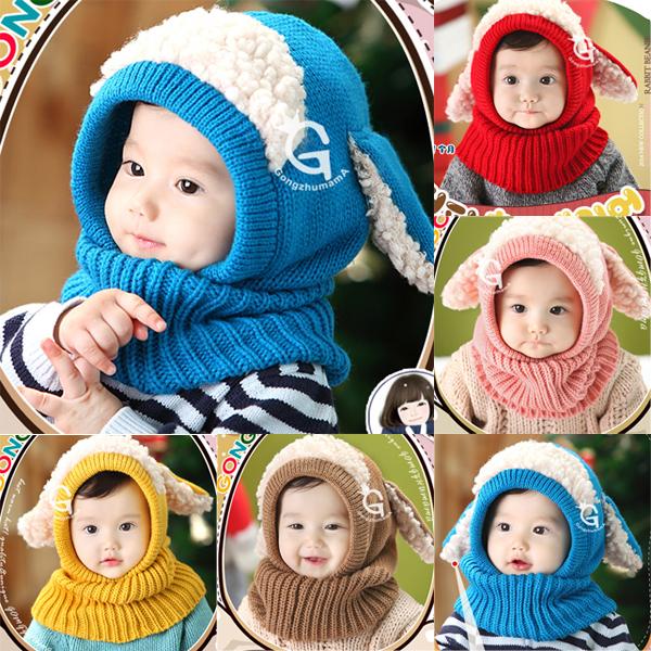 Малыш дети девочки мальчик шляпы капюшон капюшон Kintted шерстяной шарфы шапки зима теплая шапка