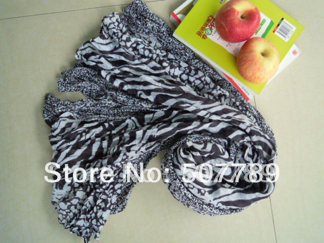 a383 Free Shipping Fashion 180cm*100cm Crushed voile Shawls Long Scarves Hijabs Wholesale(China (Mainland))