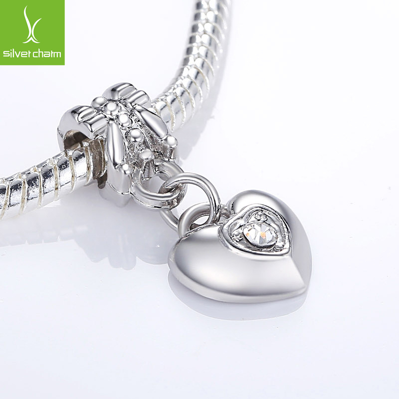 High Quality Silver Heart Crystal Dangle Charm Beads Fit Original Pandora Bracelet Pendants For Women DIY Jewelry(China (Mainland))